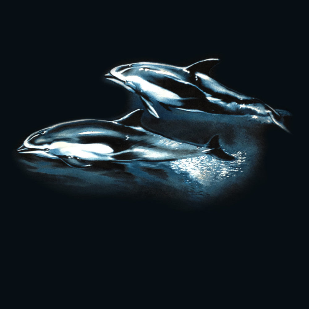 Pacific Dolphins - painting of pacific dolphins wrapped around one side of t-shirt