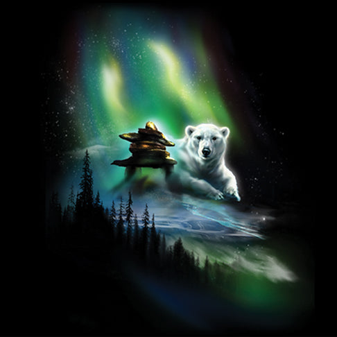 Polar Lights by Tami Alba - painting of polar bear with inukshuk and Northern Lights