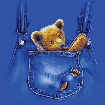 Pock Surprise - painting of bear art in front pocket of jean overalls