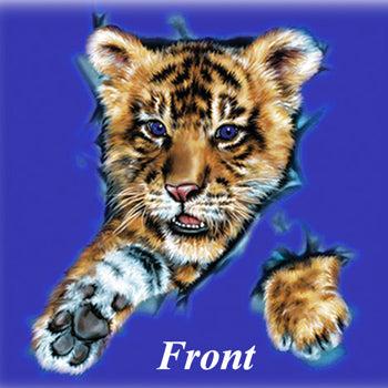 Pushing Through - painting of tiger cub pushing through t-shirt.Front and back design