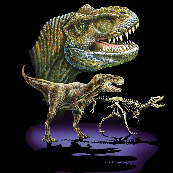 Rex Trio - painting of three images of a T-Rex dinosaur