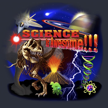 Science Is Awesome - painting of images related to science from dinosaurs to rocket ships