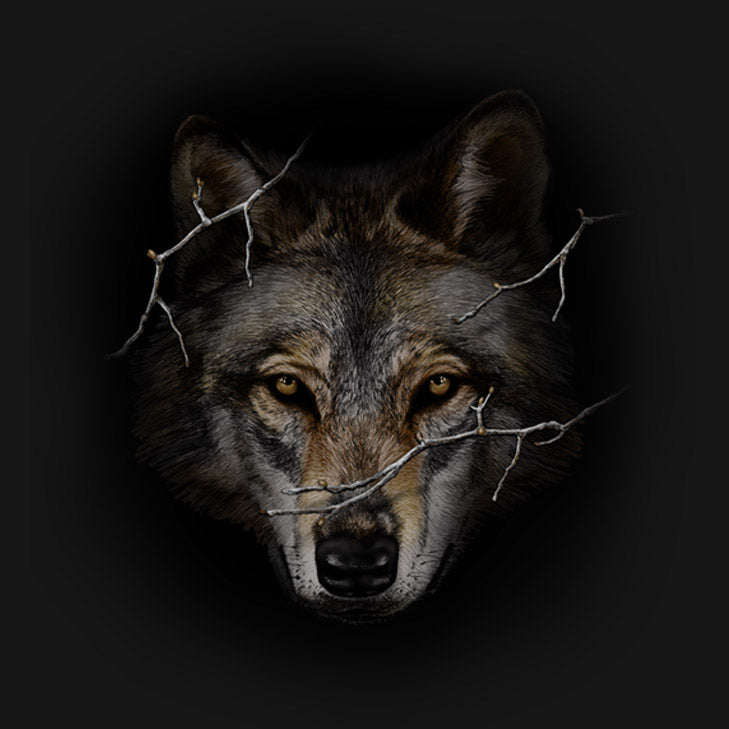 Wolf Prowl by Eric Blais - painting of large wolf head emerging from woods