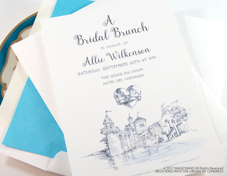 little mermaid bridal shower invitations fairytale wedding disney hand drawn set of