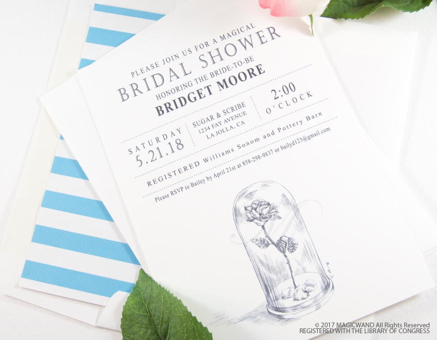 Beauty and the Beast Bridal Shower Modern Invitations, Fairytale ...