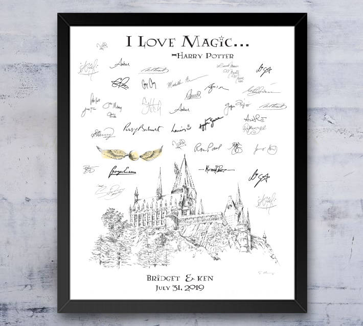 image about Harry Potter Printable Signs titled Harry Potter Hogwarts Castle, Snitch Guestbook Print, Visitor Guide, Fairytale, Bridal Shower, Marriage, Solution Indication-inside of (8 x 10 - 24 x 36)
