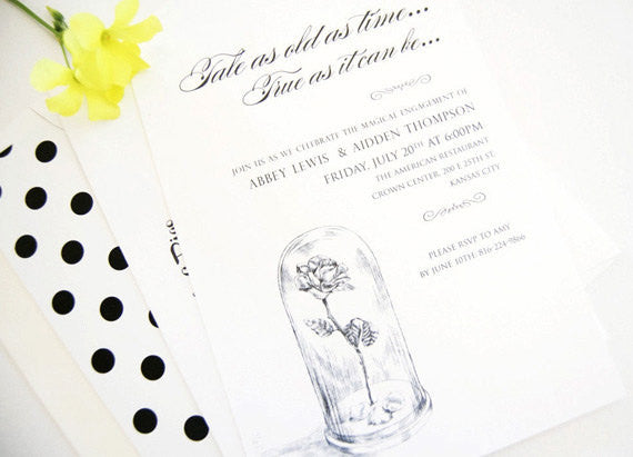 beauty and the beast engagement party invitations fairytale wedding