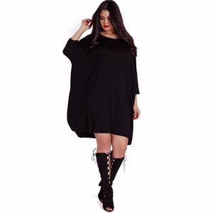 Women Casual O-Neck Loose A-Line Dress Plus Size Dress 4XL 5XL 6XL