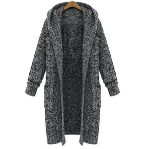 Women Long Cardigan Pocket Sweater Coat