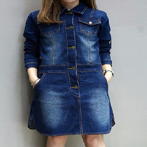 Women Single-Breasted Button Plus Size Denim Dress