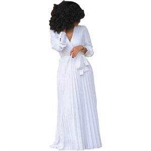 Women Plus Size Plunging V Neck Long Sleeve Belted White Maxi Dress | 71company.shop
