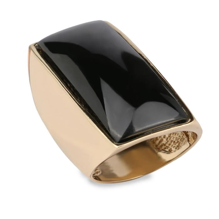 Black Ring Women Gold Big Rectangle Vintage Jewelry