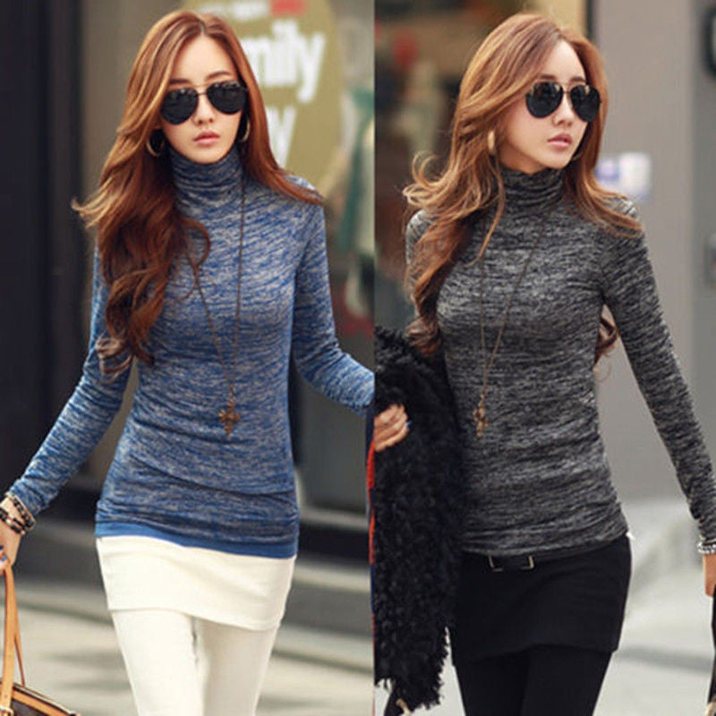 Women Turtle Neck Long Sleeve Slim Fit Pullover Knitted Sweater