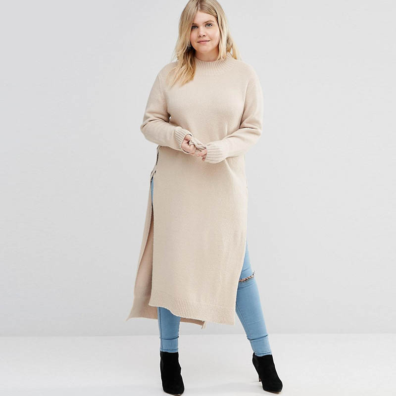 Women Winter Long Sleeve Plus Size Solid Side Split Knitted Maxi Long Dress