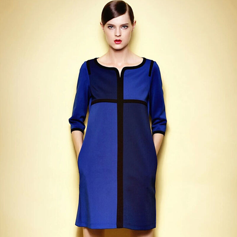 Women Plus Size Straight A-line Color Block Dress