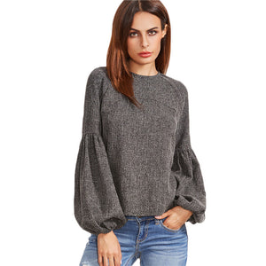 New Fashion Grey Keyhole Blouses  | Seventy-One