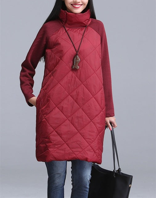 Women Winter Autumn Plus Size Casual Mock Neck Dress
