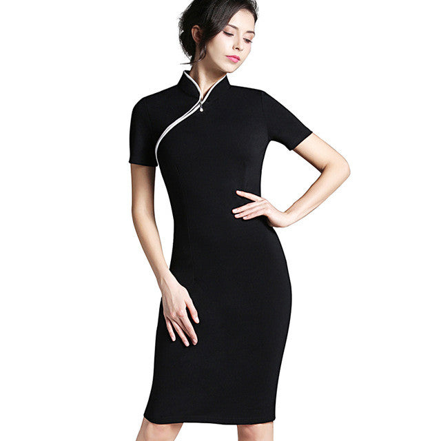 Elegant Stand Collar Rockability Pinup Dress | Seventy-One