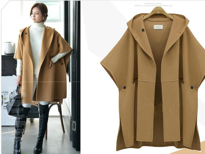Women Woolen Loose Cloak Coat