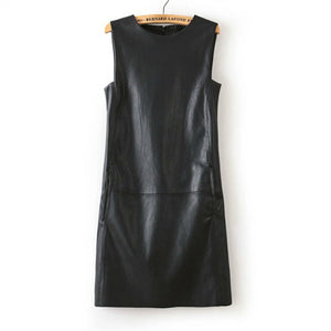 Women Faux Leather Straight Sleeveless Knee-Length  Dress