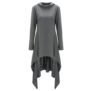 Women Plus Size Winter Long Sleeve High Low Hem Dress