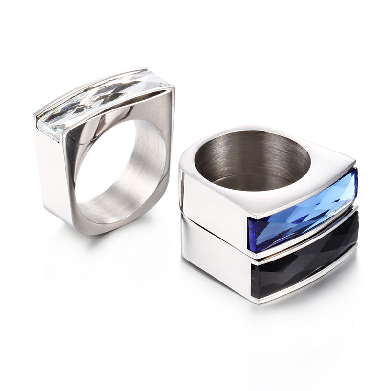 Women Crystal Colorful Red Blue Black Purple Stone Stainless Steel Fashion Ring