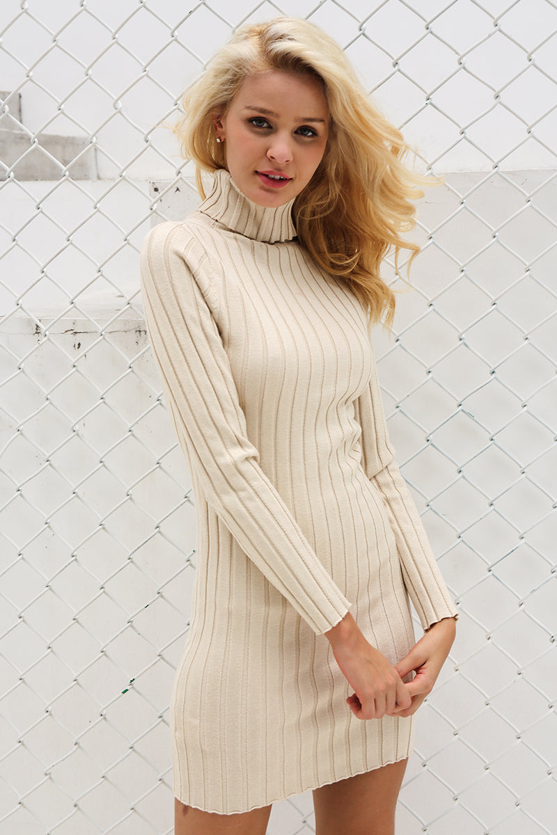 Women Ladies Autumn Winter Casual Turtleneck Long Knitted Sweater Bodycon Pullover Dress