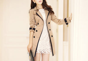 Women Turn-Down Collar Double Breasted Contrast Color Mid-Length Plus Size Trench Coat