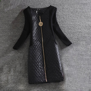 Women Winter  Long Sleeve Quilted Dress -71company.shop