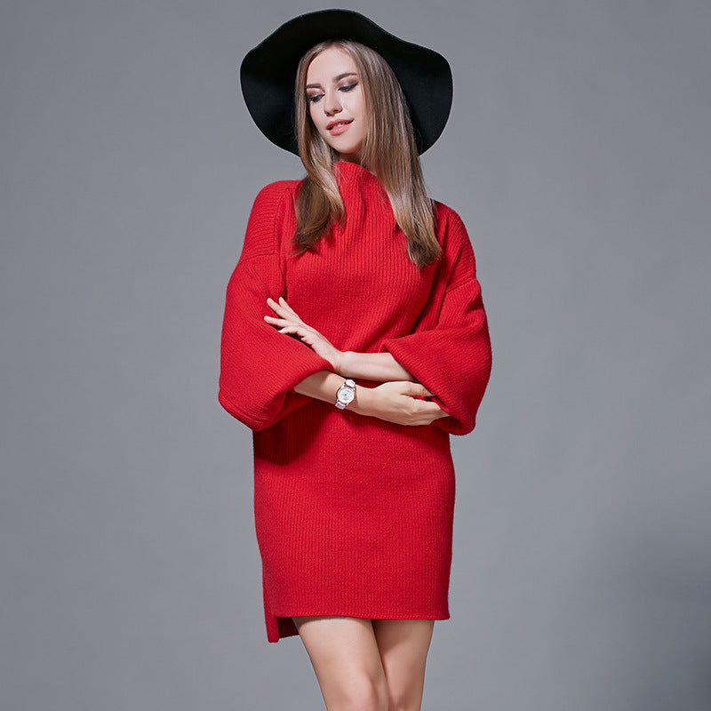 Women's Plus Size Lantern Sleeve Autumn Winter Red Sweater Dress