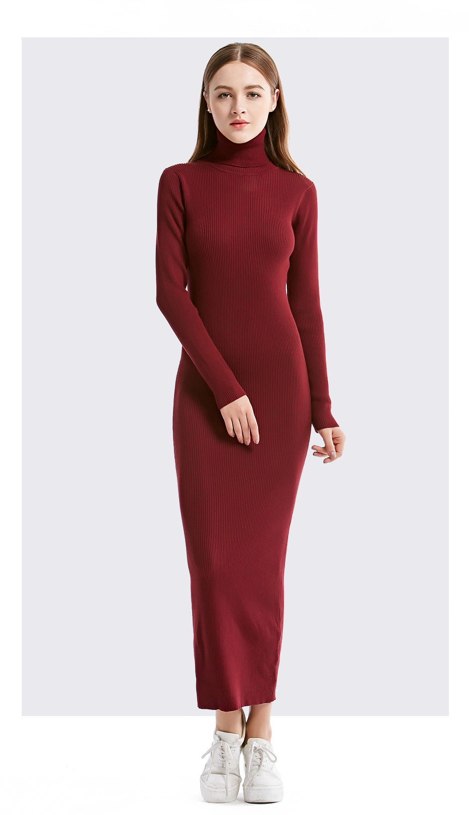 Women Turtleneck Knitted Pullover Long Sweater Dress