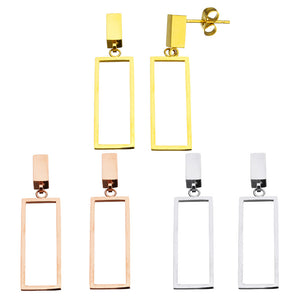Stainless Steel Drop Earring for women Rectangle gold color Jewelry
