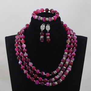 Trendy Wonderful Rose Pink African Beaded Jewelry Set