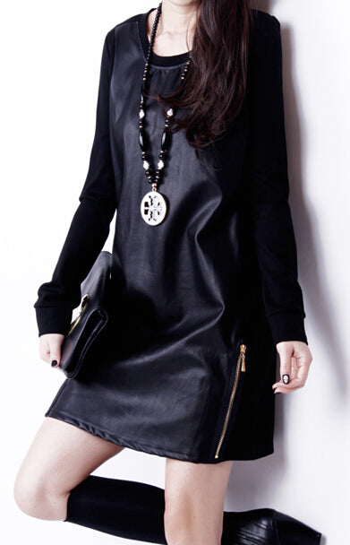 Women Faux Leather Patchwork Long Sleeve Solid Mini Dress