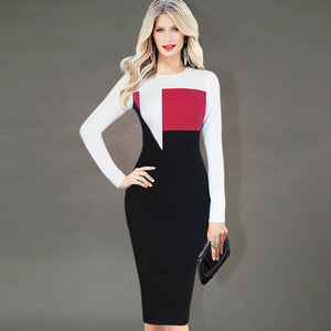 Women Autumn Spring Graceful Colorblock Red White Black Patchwork Long Sleeve Pencil Bodycon Dress