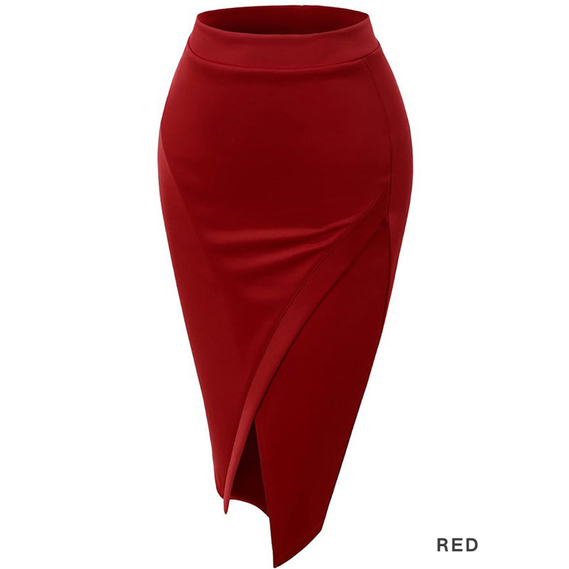 Women Closed Back Front Slit Sexy Pencil Skirt Black Red S-XL