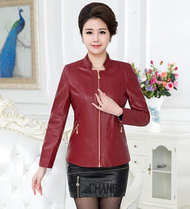 Women Autumn Winter Leather Outerwear Mandarin Collar Leather Jacket Army Green