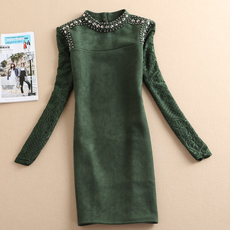 Women Solid Lace Long Sleeve Dress - 71company.shop