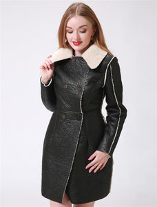 Women Long Leather Double Breasted Faux Fur Coat - 71company.shop