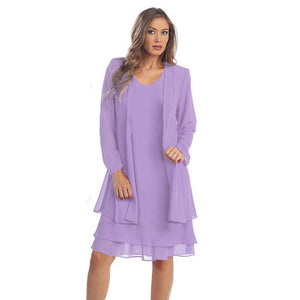 Plus size Long sleeve Summer Spring Casual Chiffon Midi Dress - 71Company.shop