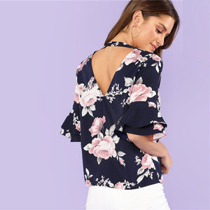 Cut Out Back Flare Sleeve Women Ruffle V Neck  Summer Blouse - 71company.shop