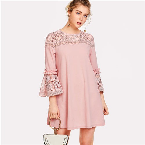 Lace Detail Frill Trim Summer Dress - 71company.shop