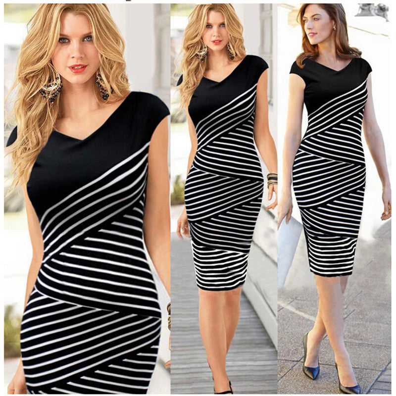 Women Plus Size Fashion Striped V Neck Bodycon Office Work Dress
