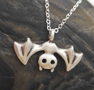Cute Upside Down Hanging Bat Necklace