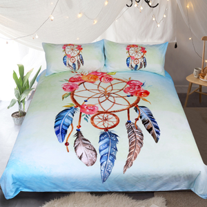 Dreamcatcher Bedding Set Floral Rose Boho Style Bedding (Duvet Cover And Pillowcase)