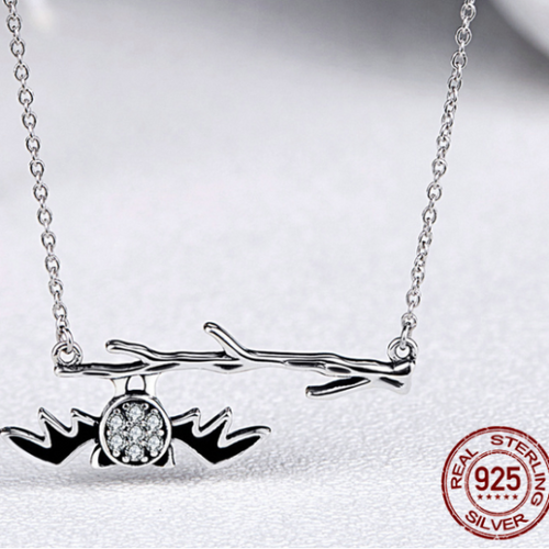 A Unique 925 Sterling Silver Bat on Branch Necklace