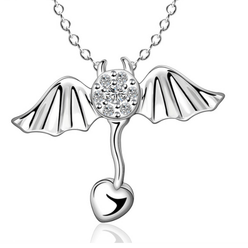 The Bat With The Big Heart Silver Necklace