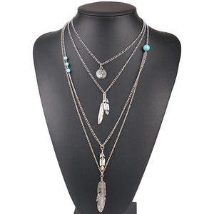 Vintage Boho Multi Layers Long Feather Necklace