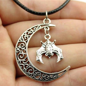Cute Moon Bat Hanging Black Necklace