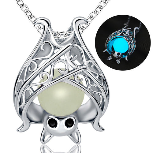 Genuine 925 Sterling Silver Luminous Bat Necklace
